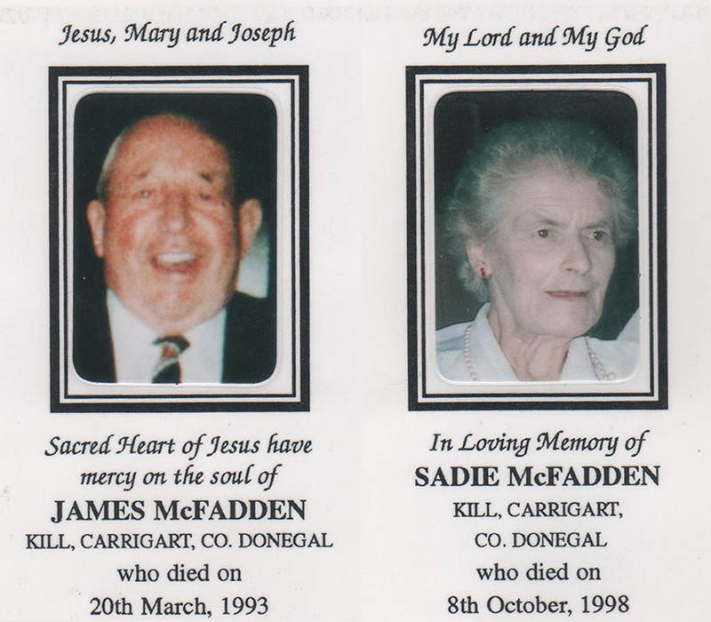 Daddy and Mammy's Memorial Card.